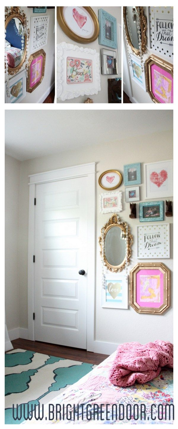 vintage modern girl gallery wall - Modern Girl Bedroom Ideas