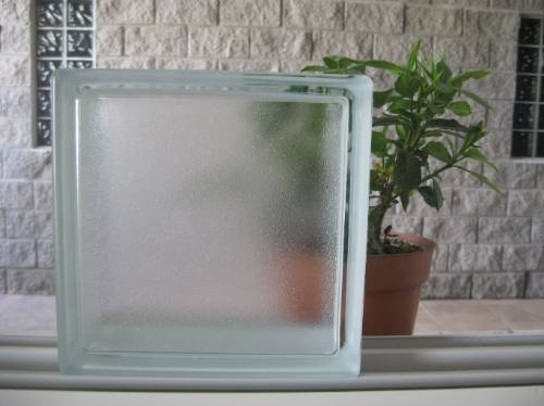 Ladrillos de vidrio 19x19x8 simil satinado efecto empa ado - Ladrillo de cristal ...