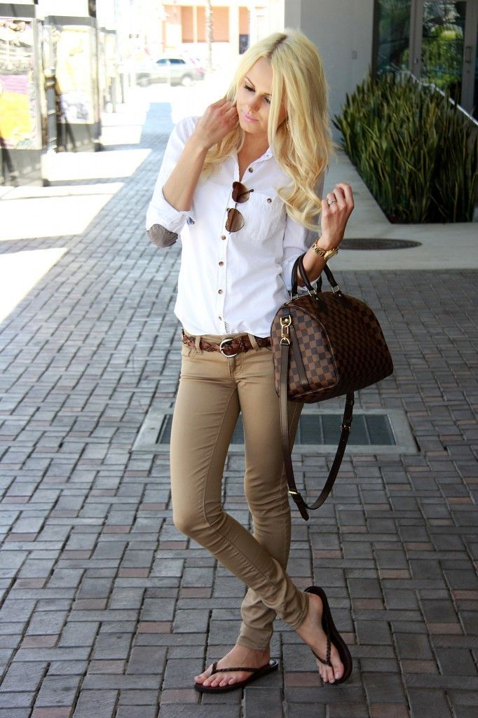 khaki tight pants and white shirt