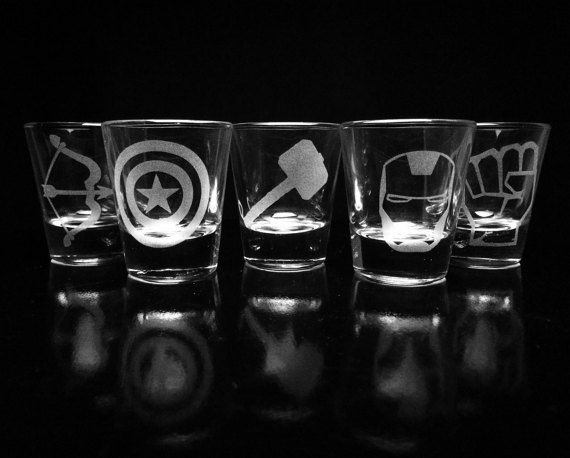 The Avengers Shot Glasses Set of 5 Iron Man by GopherStudios