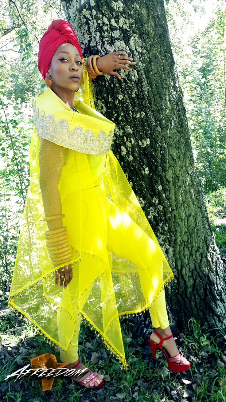 This is fashion inspired by nature.  #Afreedom #African #Fashion #Women #Black #Turban #Yellow #Afreedommovement