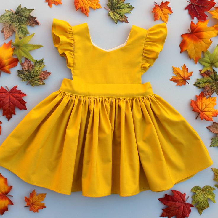 Cora Pinafore Dress in Mustard
