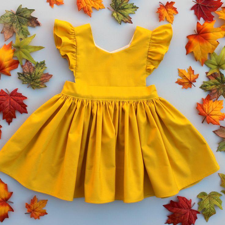 Cora Pinafore Dress in Mustard