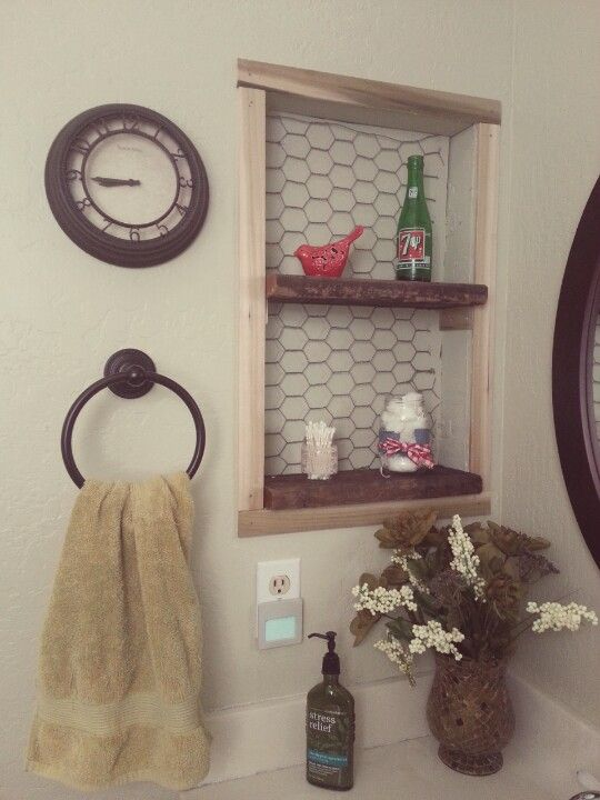 rustic shelving idea in place of old medicine cabinet space.