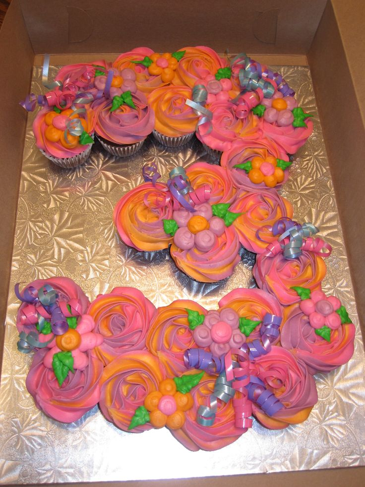 Number cupcake cakes! Great, simple idea. This one w flowers but can embellish w any theme.