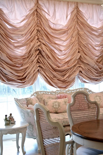 Austrian Shade & pink couch by Adventures of Elizabeth | new | Silk taffeta, lining, wood, upholstrey fabric | Private home