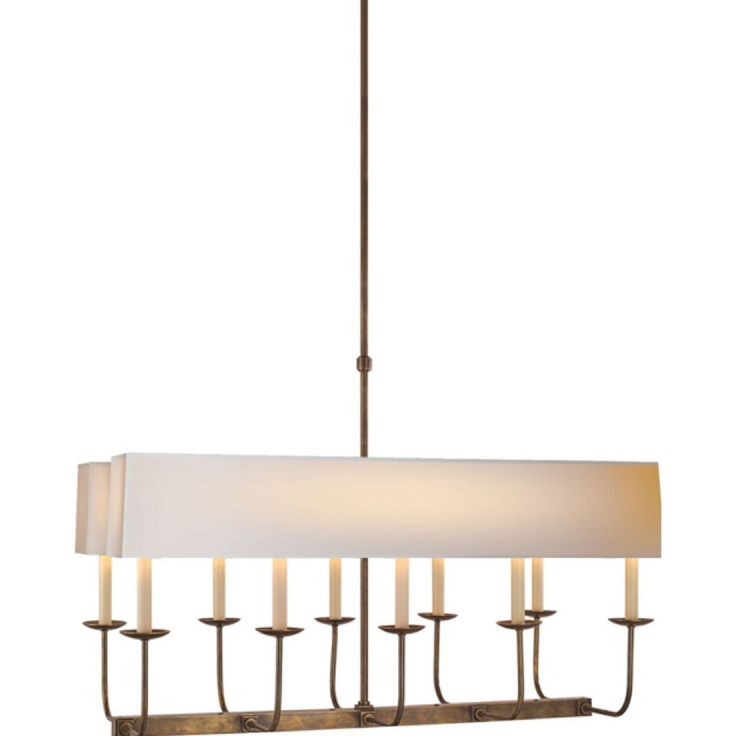 Studio Sandy Chapman Linear Branched Chandelier In Hand Rubbed Antique Brass With Natural Paper