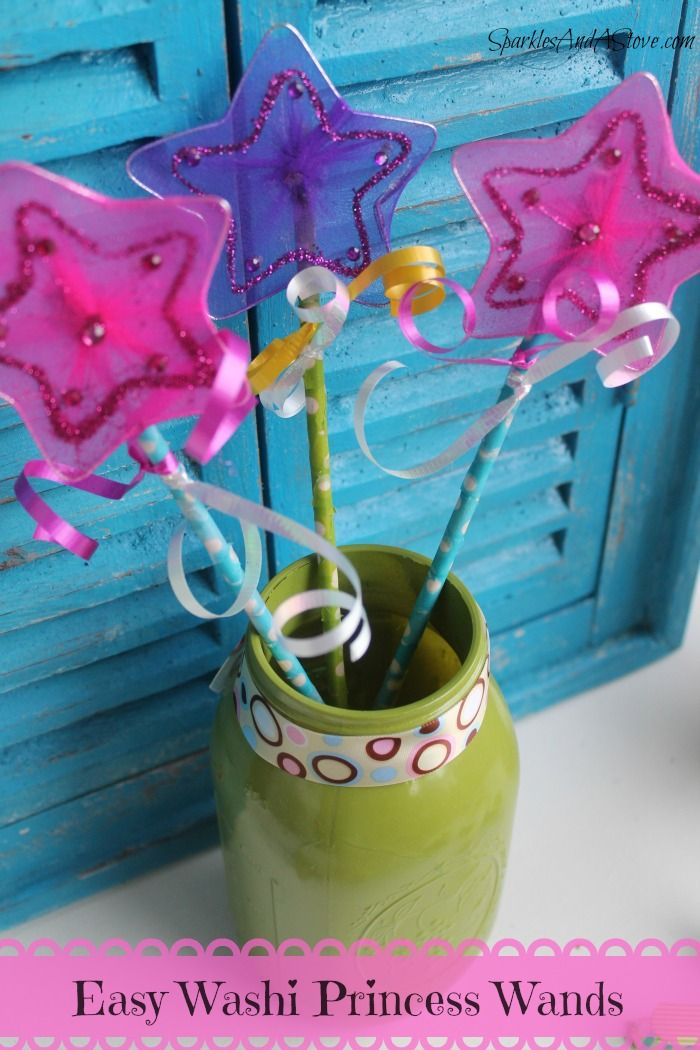 Easy Kids Craft Washi Princess Wands by Sparkles And A Stove fun family craft or easy party favors.  How cool would this be to use beads and melt them into star cookie pop pans.   use a small dowel for the stick.