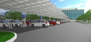The new carport at Ford's global headquarters will be the second-largest #solar carport in the Midwest. #Sustainability #Eco #Cars Read more: http://bit.ly/1oUTGCK