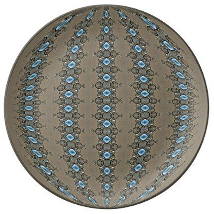 Ice Blue Diamonds in Complex Columns Dinner Plate - home gifts ideas decor special unique custom individual customized individualized