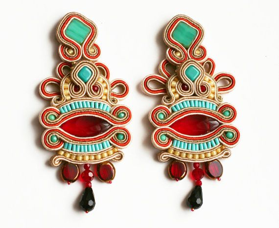 song of fire and ice / long soutache earrings / red turquoise / boho indian colorful jewelry
