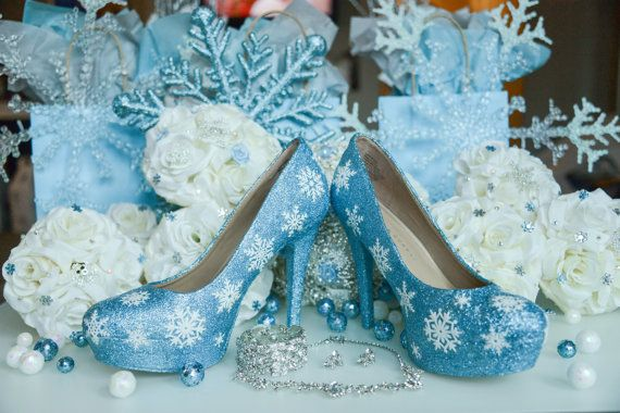 Snowflake Shoes, Winter Wedding, Winter Wedding Shoes, Frozen Inspired Shoes, Fantasy Weddings