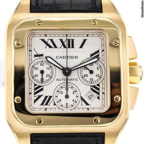 Cartier Santos 100 Xl Chronograph 18k Yellow Gold Automatic Men's Watch W20096y1