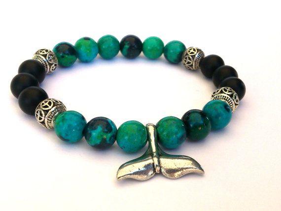 Whale Tail Charm Bracelet/Beaded Bracelet/ Gemstone by MACRANI
