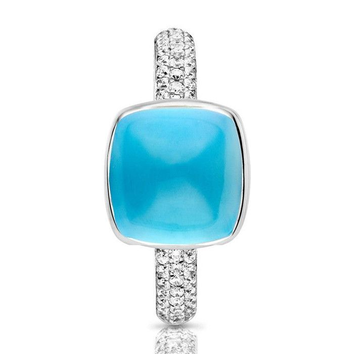 One More 18 Karaats Witgouden Pantelleria Ring met Swiss Blue Topaas en Diamant  Description: One More 18 Karaats Witgouden Pantelleria Ring met Swiss Blue Topaas en Diamant  Price: 1999.00  Meer informatie