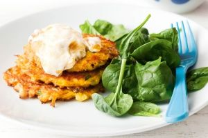 Curried cauliflower and sweet potato fritters