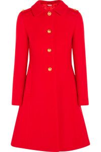 Fall and winter outfit. Miu Miu, Pleated red wool-felt coat.