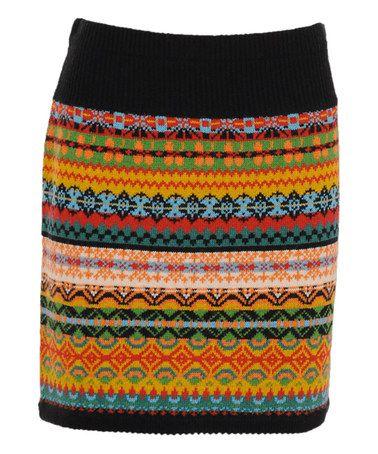 Love this Black & Orange Fair Isle Wool-Blend Skirt by Louie et Lucie on #zulily! #zulilyfinds