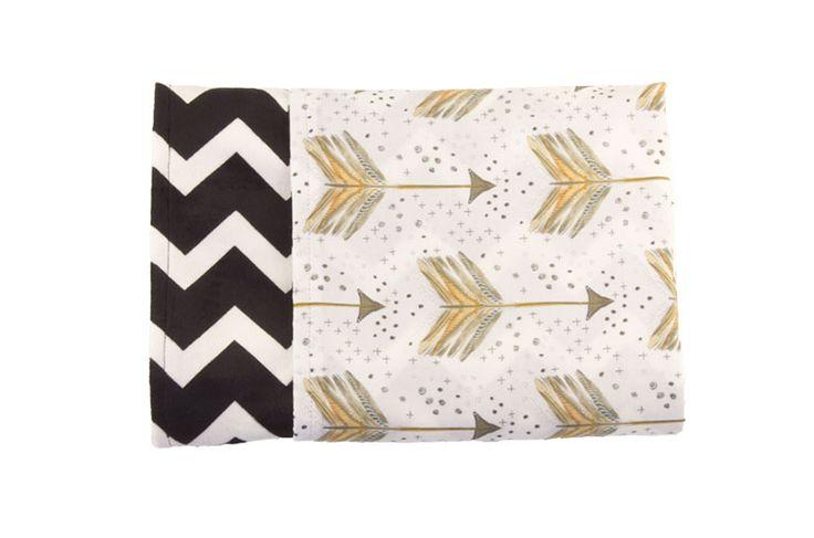 Bronze Arrow Reversible Minky Blanket - Levi & Evelyn