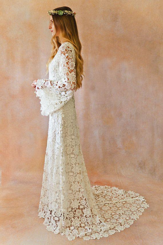 White Lace Crochet Bell Sleeve Simple Bohemian Wedding Dress by Dreamersandlovers