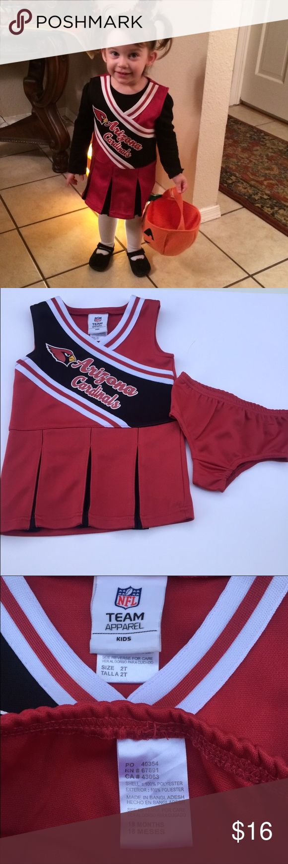 "Arizona Cardinals Football Cheerleader Dress Set Toddler girls Arizona Cardinals Cheerleader Dress with diaper cover  Size 2T ** diaper cover is an 18mo  I think dress fits more like an 18-24mo  17"" Long (shoulder to hem)  •100% Polyester • Officially Licensed NFL Team Apparel Kids Product •  screen printed Logo Across Chest • 1 Piece Dress w/diaper cover  • Pleated 2-Color Cheerleader Skirt • Detailing in Team Colors New without tags, perfect condition. ❌NO TRADES❌ Team NFL Dresses"