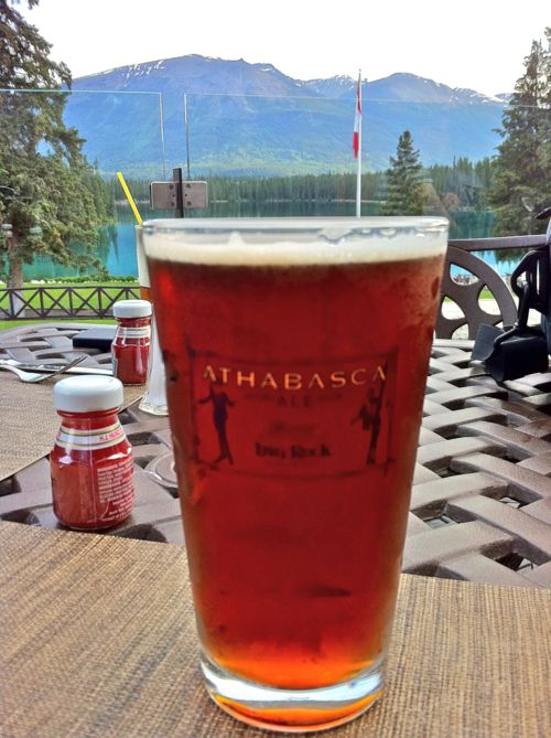 Stop by for a Rooftop Honey Lager on the Patio at the Emerald Lounge in Jasper, Alberta