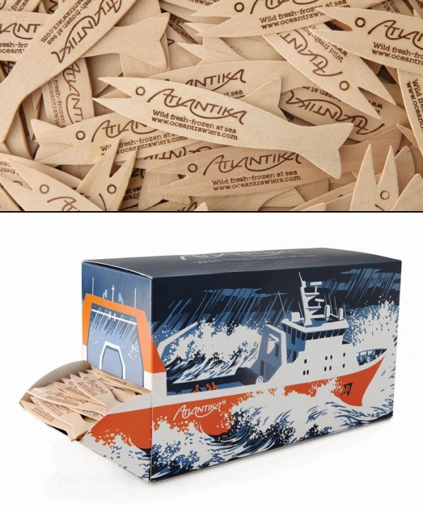 Ocean Trawlers Fish Fork Dispenser. The goal was to create unique packaging to distribute custom fish forks for fish & chip shops who supply Atlantika fish.