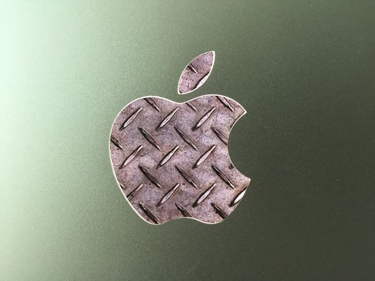 Steel Plate Texture Glowing Backlit Apple Logo for MacBooks 2 Decals per Order by WallMac on Etsy