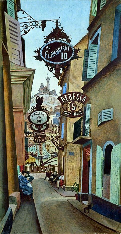 Rue de la Reynarde, Marseilles, France  by Edward Alexander Wadsworth       Date painted: 1926