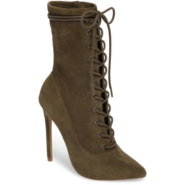 Women's Steve Madden Satisfied Corset-Lace Bootie ($120) ❤ liked on Polyvore featuring shoes, boots, ankle booties, olive suede, stiletto booties, lace-up bootie, victorian ankle boots, lace ankle boots and lace-up ankle booties