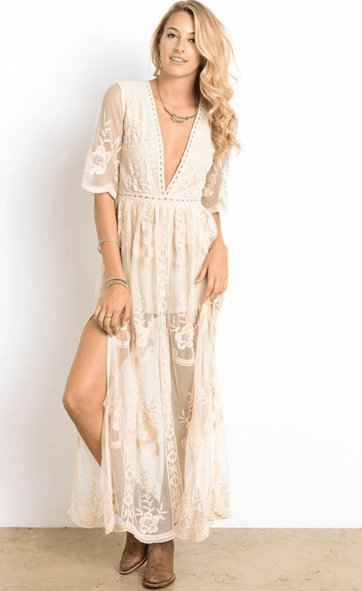 Gemma Lace Maxi Dress - Natural $ 69.99 Get swept off your feet in this boho-gypsy maxi dress. In stunning sheer natural lace, this maxi dress has a plunging neckline and short sleeves. Other details include a lined bust, shorts underneath, long side slits and floral embroidery throughout.   Plunging neckline Lined bust Shorts underneath Sheer natural lace Floral embroidery Concealed back zipper closure Long side slits Model is wearing a small Model's measurements: Height: 5'8'' Bust: 34''…