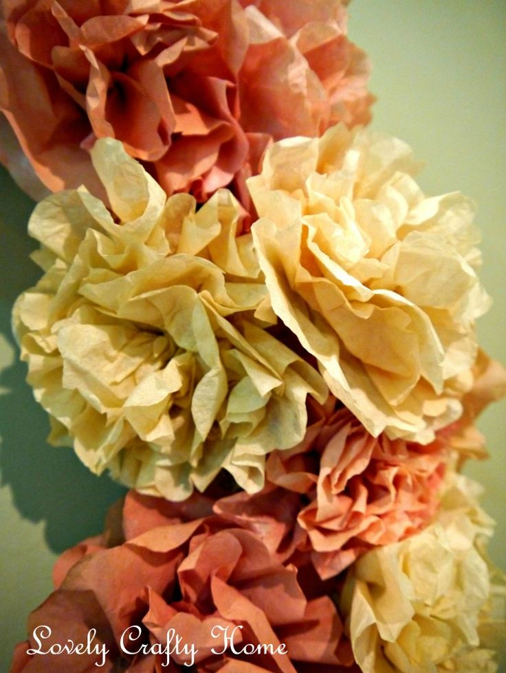 DIY Coffee Filter Flower Wreath, do it any shade for any season