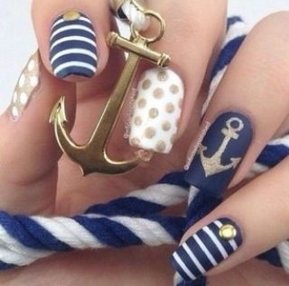 Cute blue, white and gold sailor nails
