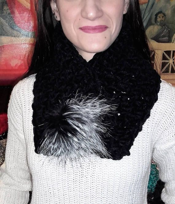 Lancaster scarf Hand knit scarf Velvet neck warmer Black