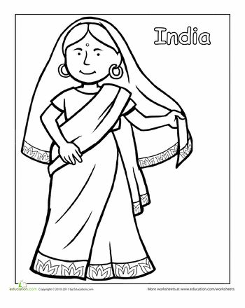 Worksheets: Indian Traditional Clothing Coloring Page