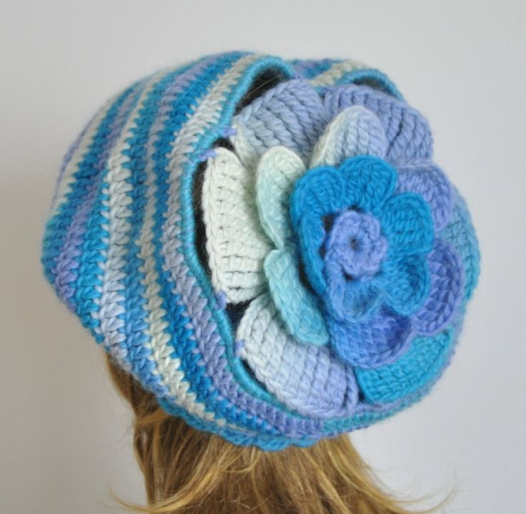 Cozy Flower - Blue-Cream - Crochet Multicolor Floral Cozy  Adult Hat by jennysunny on Etsy