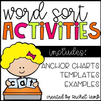 This little file contains all you need to begin word sorts in your daily routine: >Anchor charts for types of sorts >anchor charts of activities >Center cards to place in your word work centers for students to sort with partners of independently >Explanation of types of sorts, teacher reference sheet, suggested schedule, and other tips >Spelling test and word card templates ...