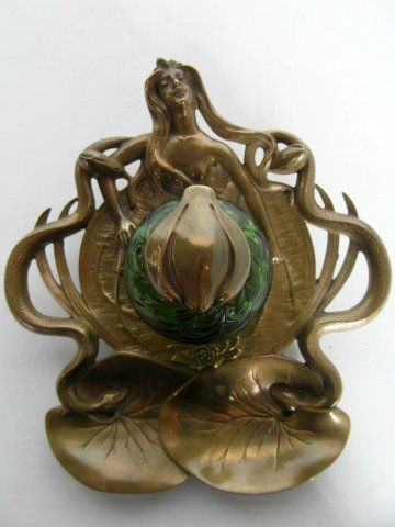 Art Nouveau brass inkwell stand, iridescent glass well depicting water nymph with snakes and lily pad, c.1900 | JV