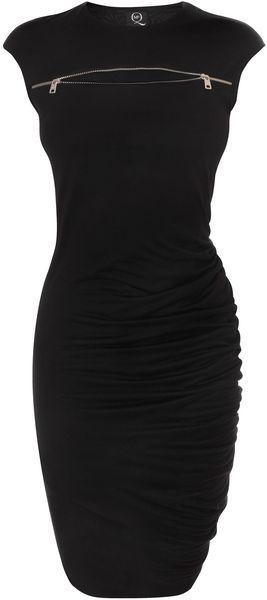 McQ by Alexander McQueen Jet Black Zip Sbend Dress - zipper placement inspiration