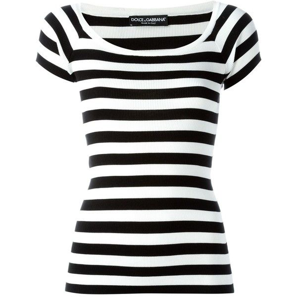 Dolce & Gabbana Striped Knit T-Shirt (590 NZD) ❤ liked on Polyvore featuring tops, t-shirts, shirts, blusas, tees, black, striped short sleeve shirt, ribbed tee, short-sleeve shirt and striped t shirt