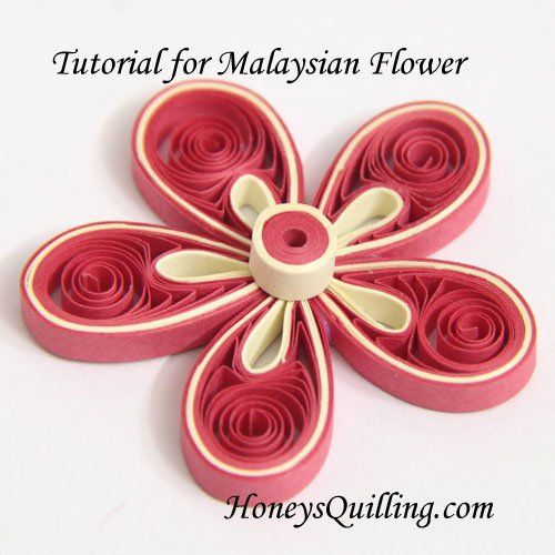 Paper Quilling Tutorial - Cómo hacer flores de Malasia - tutorial libre de Quilling de Miel