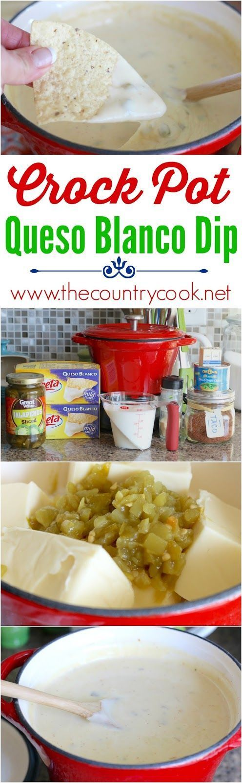 Crock Pot White Queso Dip recipe from The Country Cook. Just like my favorite Mexican restaurant but, I think, even better! Goes perfect with tortilla chips or on smothered burritos!