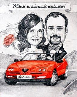 czerwone auto do ślubu