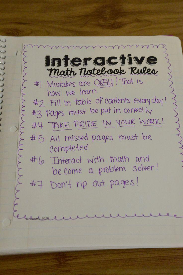 Interactive math notebook rules