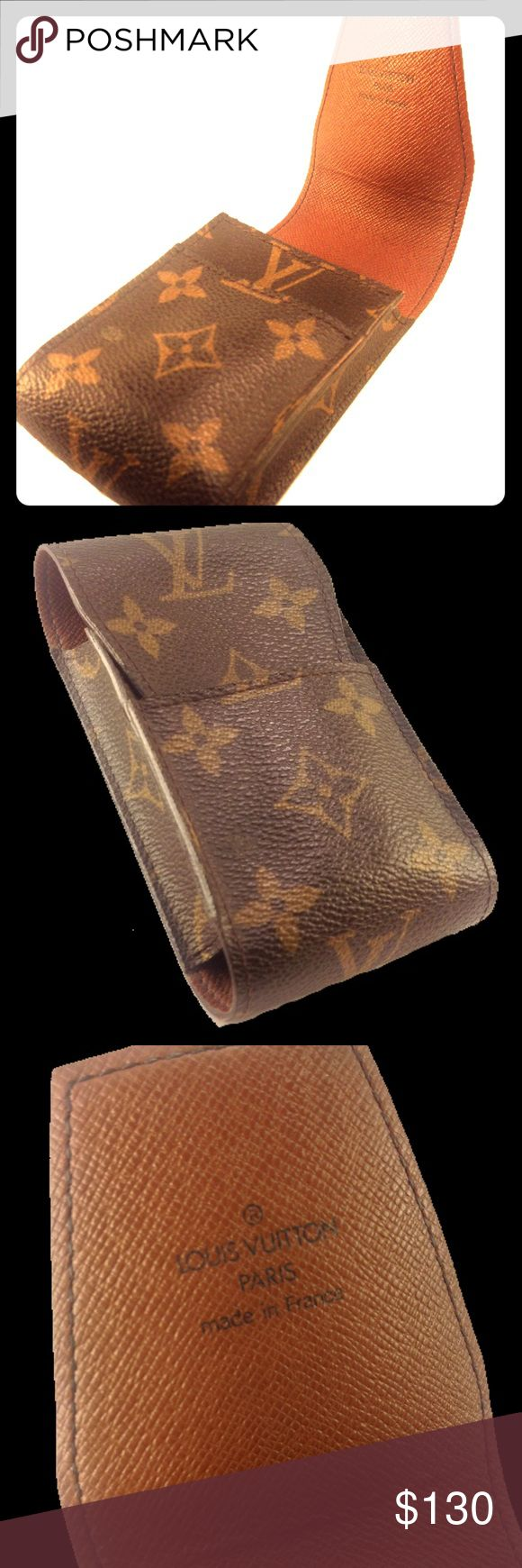 LV cigarette case 2.6x4.7x1.0 inches. Monogram canvas, cross grain leather lining, flap closure, trimmings in natural cowhide leather. Louis Vuitton Other