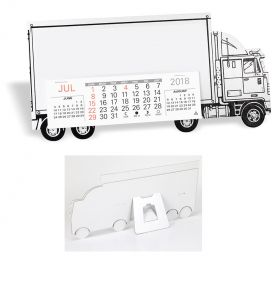 Product: 7D223 Desktop Truck Calendar, Tractor Trailer Basic custom imprint setup & PDF proof included! Keep your company name on their desk all year long with our Tractor Trailer cardboard desk calendar. Sturdy chipboard construction includes black trim and tires, a standard red imprint standard, 13-month calendar pad with easel back. Perfect promotional calendar for freight & trucking companies. Warwick / 423