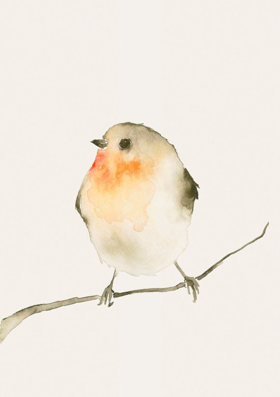 Watercolor Bird Artwork Red Robin by dearpumpernickel on Etsy