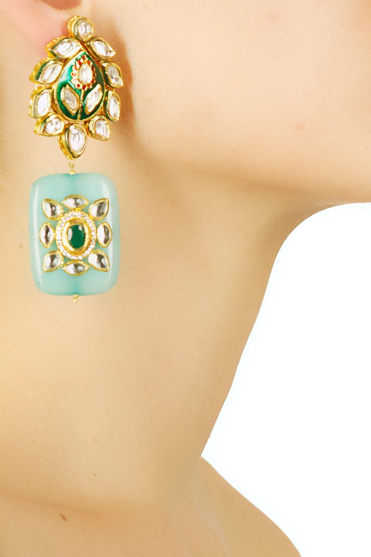 Gold finish kundan and green quartz stone enamelled earrings available only at Pernia's Pop Up Shop.