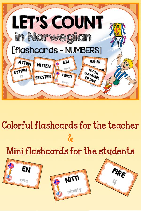A set of #flashcards to teach #Norwegian numbers. Included: double forms for seven, twenty, thirty and forty.