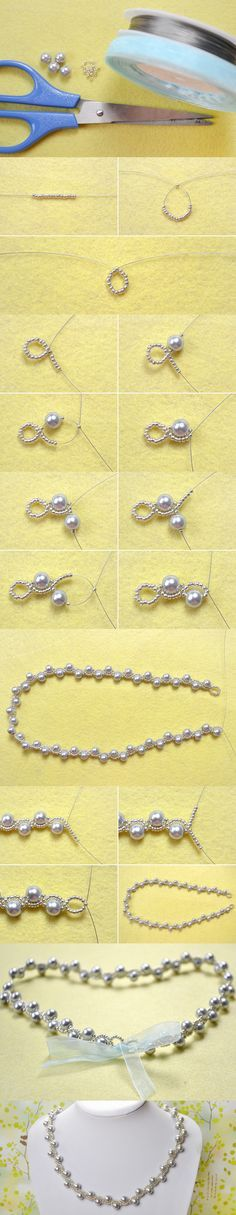 Simple OL Jewelry DIY on How to Make a Silver Gray Pearl Necklace with Ribbon Tie from LC.Pandahall.com More
